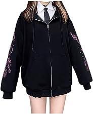 Zip Up Hoodie for Women Vintage Graphic Y2k Aesthetic Hooded Sweatshirt Oversized Loose Jackets 90S Streetwear