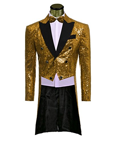 [Everbeauty Men's Formal 2 Pieces Shiny Sequins Tailcoat Suit Costume] (Sequin Tailcoat Costume)