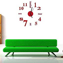 Fengzhicai Modern DIY 3D Wall Clock Sticker Decor Home Office Room Decoration - Red