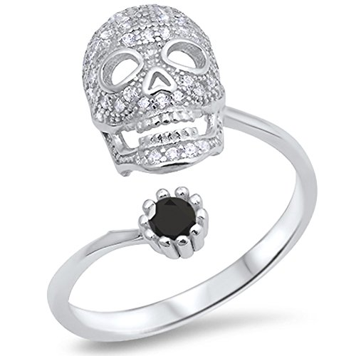 925 Sterling Silver Round Faceted Natural Genuine Black Onyx Open Skull Biker Ring Size 6 Genuine Round Black Onyx Ring