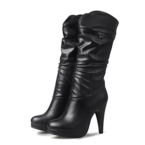 Soft Boots High Heels Women's Round Black Closed Solid Top Material Mid AgooLar Toe wAxIPYAq