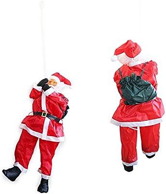 SSITG 180 cm Papá Noel Am Cuerda Escalera Navidad decoración Figura de Navidad Papá Noel Rojo: Amazon.es: Jardín