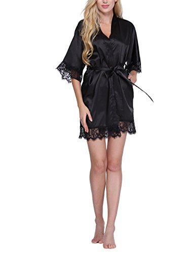 Original Kimono Womens Lace-Trimmed Satin Short Kimono Robe Bathrobe Loungewear