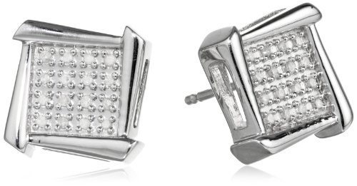 Diamond Geometric Earrings (Sterling Silver and Diamond Geometric Stud Earrings (1/10 cttw, I-J Color, I2-I3 Clarity))
