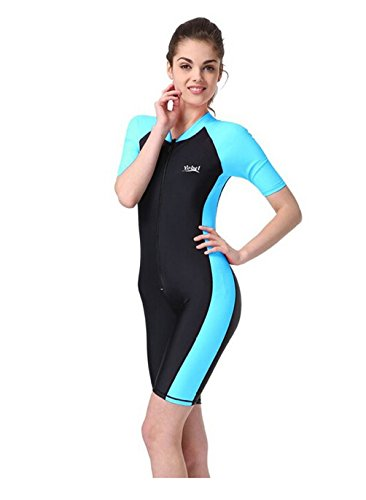 HQQ One-piece Snorkeling Surfing Swim Suit Short Sleeves Plus Size Swimwear- Sun Protection (XL(weight:143lbs-154lbs), Light Blue) (Swimsuit Chlorine Remover compare prices)