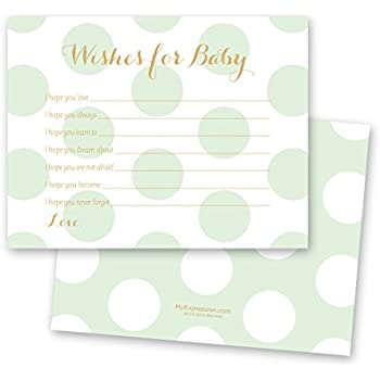 48 polka dots gold baby shower wish card mint