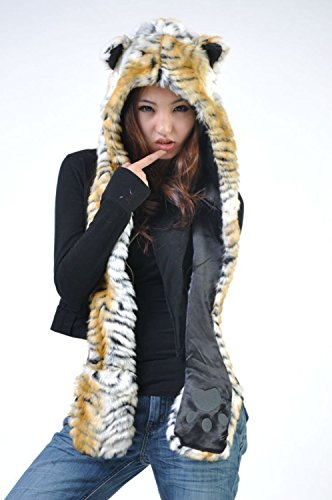 Tiger Faux Fur Animal Spirit Hats Hood Hoods with Mittens Unisex Gloves Scarf with Paws Ears (Halloween Stores Spirit)