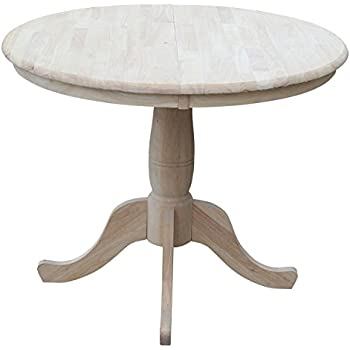 International Concepts 36 Inch Round Extension Dining Table With 12 Inch  Leaf