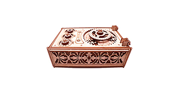 3D Wooden Treasure Puzzle Box with Music Laser-Cut Mechanical Model Construction Kit 3D Puzzle Antique Wooden Box Wooden Model Kits for Adults and Teens Ideal Birthday and Valentines Day