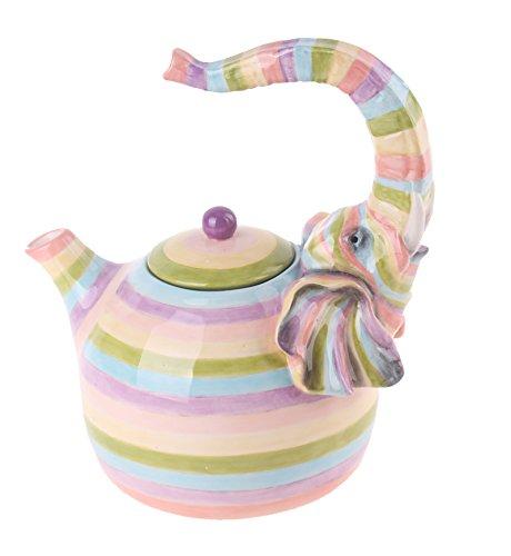 Blue Sky Ceramic Colored Elephant Teapot, 8.5 x 6.5 x 9