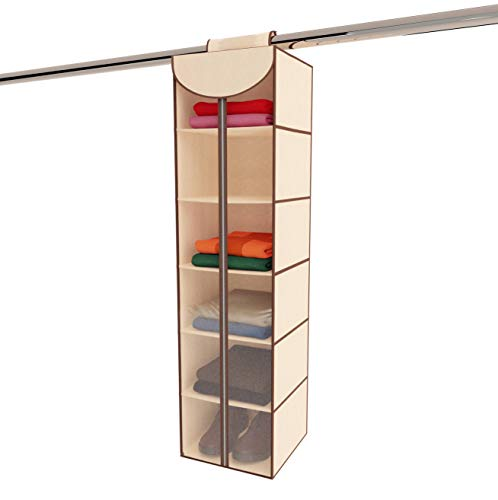 Ziz Home Hanging Closet Organizer with Zipper | 6 Shelves 12
