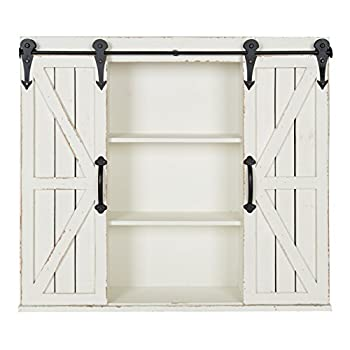 Kate and Laurel Cates Wood Wall Storage Cabinet with Two Sliding Barn Doors, Rustic White