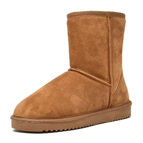 DREAM PAIRS Women's Shorty Chesnut Sheepskin Fur Ankle High Winter Snow Boots - 8 M US
