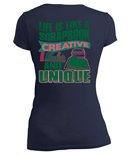 I Love Scrapbook Women's V-Neck Tee, Life is Like A Scrapbook Creative and Unique T Shirt-Women V-Neck (XL, Navy) -