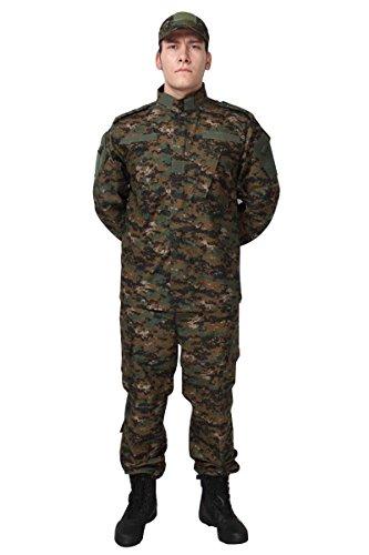 (Camouflage Military Battle Dress Uniform Set, Coat + Pant Camo Paintball Hunting Clothing, Tactical Military Combat Cargo BDU Suit (Woodland, S))