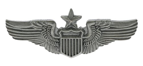 Sujak Military Items Senior Pilot Aviator Wings 1 1/4 inch Hat Pin Antiqued Silver Tone hat Lapel pin HON15442