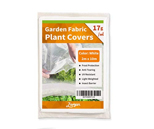 LAVZAN Plant Covers Freeze Protection & Plant Blanket Fabric 6.5′ x 32.8′ Rectangle Plant Cover for Cold Weather (17g/㎡,White)