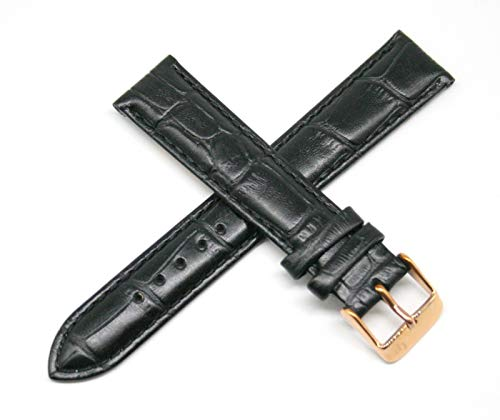 """Lucien Piccard 18MM Alligator Grain Genuine Leather Watch Strap 7.5"""" Black with Rose Gold LP Initial Buckle"""
