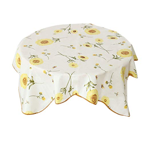 "uxcell PVC Plastic Tablecloth for Square Tables 35"" x 35"" Sunflower Printed, Wedding/Restaurant/Parties Tablecloth Decoration, Water Oil Stain Resistant from uxcell"