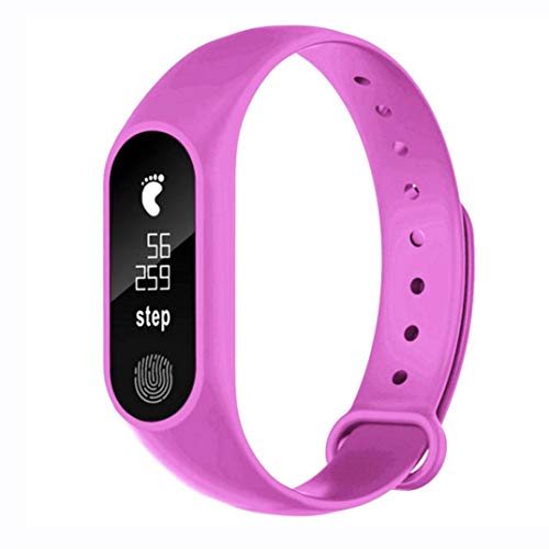 Pedometer Smart Bracelet Heart Rate Bluetooth V4.0 Smart Watch-Waterproof Step Smart Watch Watch Bracelet Link Ring (hot pink) ()