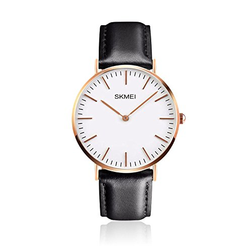 Black Leather Analog (Men's Leather Dress Wrist Watch Black Band Casual Analog Watches Classic Quartz Business Wristwatch with Stainless Steel Thin Case)