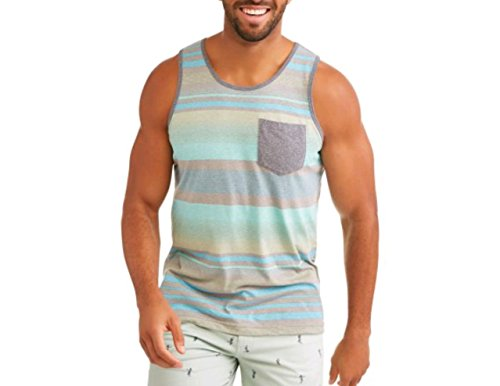 George Men's Stripe Tank Top with Pocket (2XL 50/52, Blue Stripe) - Mens Sleeveless Pocket