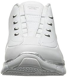 Skechers Sport Women\'s Elite Class Fashion Sneaker, White/Silver, 7 M US