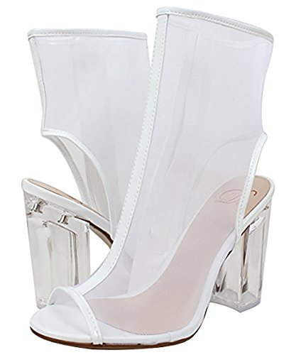 Delicious Womens Ope Toe Mesh Block Chunky Clear Perspex Heel Ankle Boot Bootie White Pat SuaQEHd40