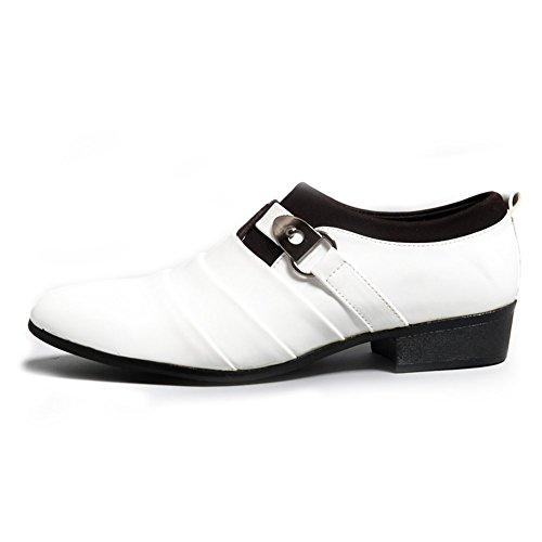 Slip Mocasines de Oxfords Comodidad Hombres de Vestir Estilo Negocios Boda Británico Planos de Minetom Blanco On Zapatos Casual qwf0OxOU