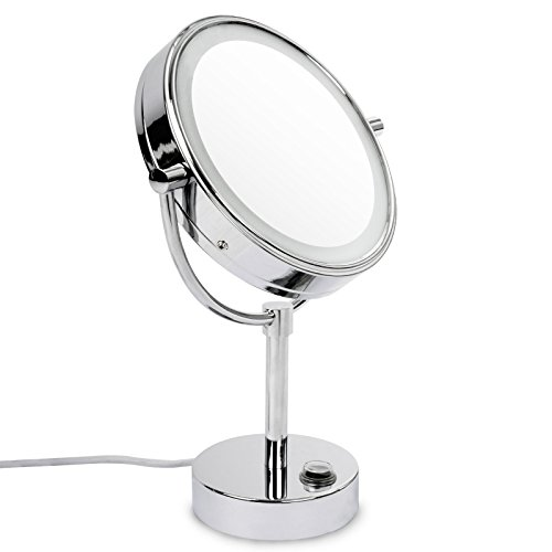 casa pura® Kosmetikspiegel mit LED Beleuchtung | 3 hohe Vergrößerungsgrade wählbar (5-fach)