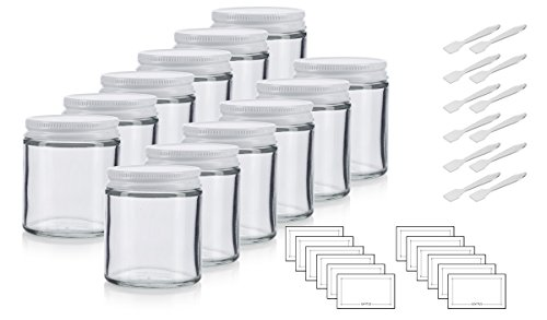 Clear Thick Glass Straight Sided Jar with White Metal Airtight Lid - 4 oz / 120 ml (12 pack) + Spatulas and Labels