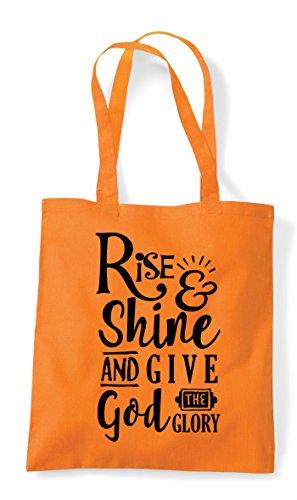 Bag Shine Religious Orange Give God Statement Rise Shopper And Tote Glory 8qdngX