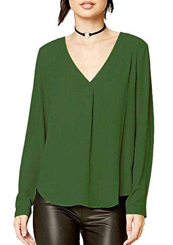 V Vrac Couleur Tops Manches T Chemisiers Unie Femme Blouses Casual Col Tuniques Shirt en Haut Arme Verte Longues zwUEqgFx