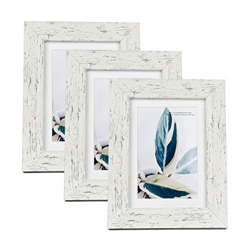 - Scholar tree Wooden Picture Frame Wooden Photo Frame for Wall or Tabletop with Mat (White Crack Wood Grain,5x7 inches 3P)