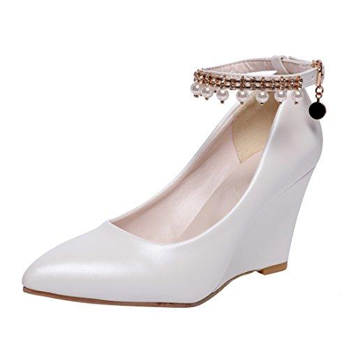 YE Damen Keilabsatz Pumps Knöchelriemchen Spitze High Heels mit Riemchen Elegant Schuhe Weiß