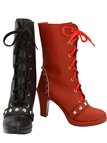 GOTEDDY Harley Booties Halloween Cosplay Clown Short Boots Leather Lace-up -