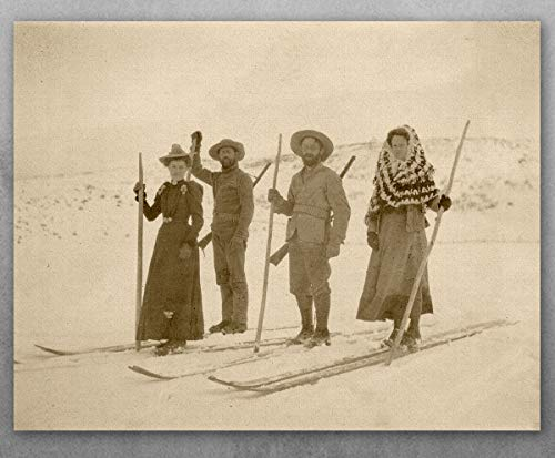 (Poster - Wilderness Skiers - Choose Unframed Poster or Canvas - Makes a Great Ski Lodges and Mountain Cabins Decor)