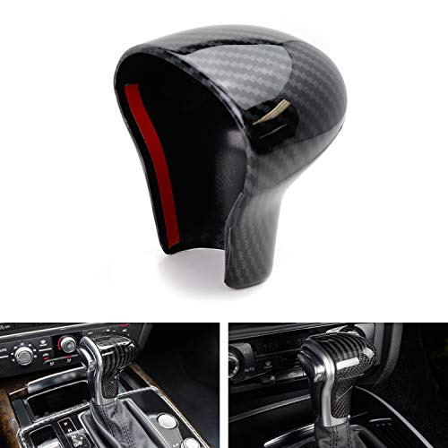 iJDMTOY 2pc Set Glossy Black Carbon Fiber Pattern Shift Knob Cover Shell For Audi 2013-2016 A4 A5 Q7, 2012-2015 A6 A7, 2013-2017 Q5, etc