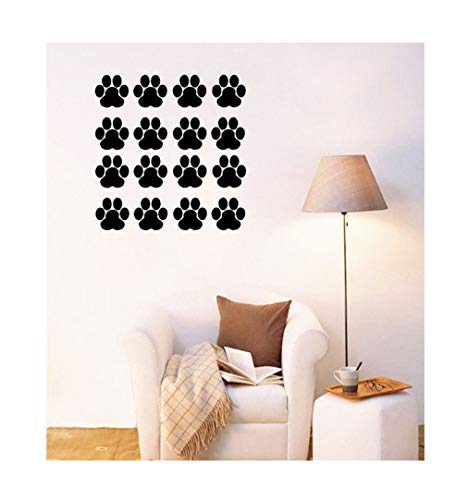 Dailinming PVC Wall Stickers Cute bear footprints furnished living room bedroom background color optional environmentalWallpaper22.9cm x22.9cm-Light Green