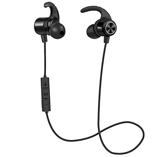 Bluetooth Headphones, SIX-QU 4.1 Magnetic Wireless Earbuds, Sweatproof Stereo Bluetooth Earphones for Sports With Mic, Workout 8 Hour Battery Noise Cancelling Headsets (black)