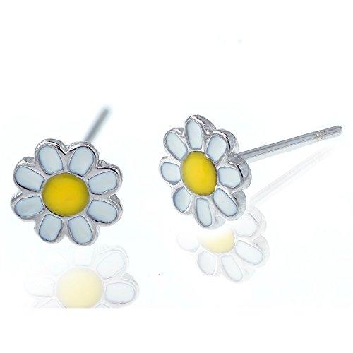 Solid 925 Stering Silver enamel Cute Daisy flower Stud Earrings For Girls Teens women - Daisy Yellow - Yellow Flower Earrings Enamel