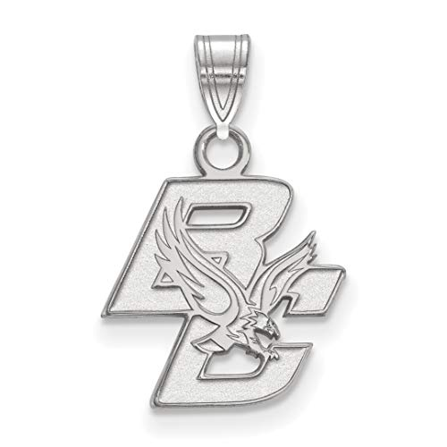 10k White Gold Boston College Eagles Baldwin School Mascot And Letters Pendant 13x14mm