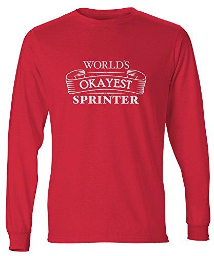 (shirtloco Men's Worlds Okayest Sprinter Long Sleeve T-Shirt, Deep Red Small)