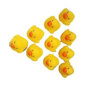 10Pcs Funny Design Baby Bathing Bath Tub Toys Mini Rubber Squeaky Float Duck Yellow Shower Water Floating Squeaky Ducks