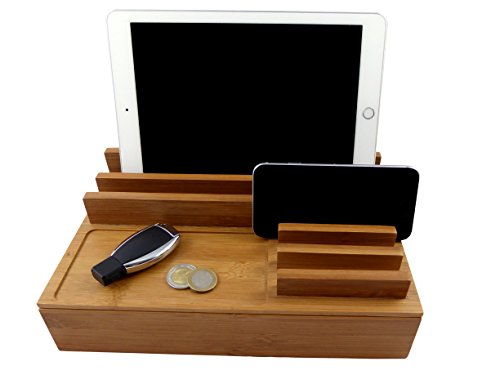 easyPower24 WoodenCharging Station Large – Universal Fast-Charging Clutter-Free Dock For iPhone, Android Smartphone& Smart Watch, Tablet, Digital Camera& More, Includes RAVPower 60W 6-Port USB Charger by easyPower24
