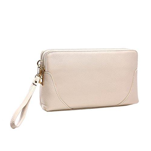 Womens 2 size Crocodile Grain Leather Handbag Shoulder bag (Black) - 5