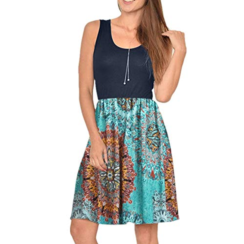 Women Swing Dress Sundress Sleeveless Damask Print Floral Casual T Shirt Dress with Pockets Bohemian Mini Dress ()