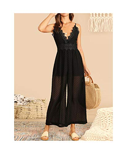 NorthEsther Boho Black Lace Trim Dot Jacquard Wide Leg Sleeveless Cami Jumpsuit Women Solid High Street Deep V Neck Jumpsuits,Black,XS
