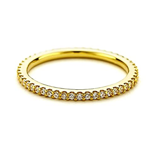 PAVOI AAAAA CZ 14K YELLOW GOLD Plated Silver Cubic Zirconia Stackable Eternity Ring - Size 5 (Cubic Zirconia Gold Rings)
