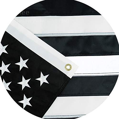 Jetlifee Black and White American Flag 3×5 Ft by US Veterans Owned Biz. Embroidered Stars, Sewn Stripes and Long Lasting Nylon, Brass Grommets 3 X 5 Foot Black and White Flags For Sale